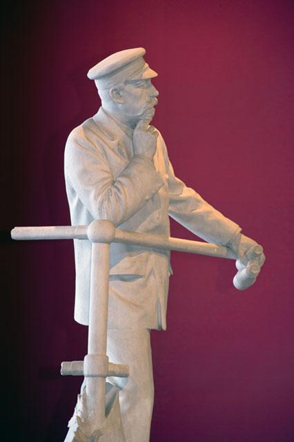 Statue Le Prince Albert Ier accoudé à la passerelle
