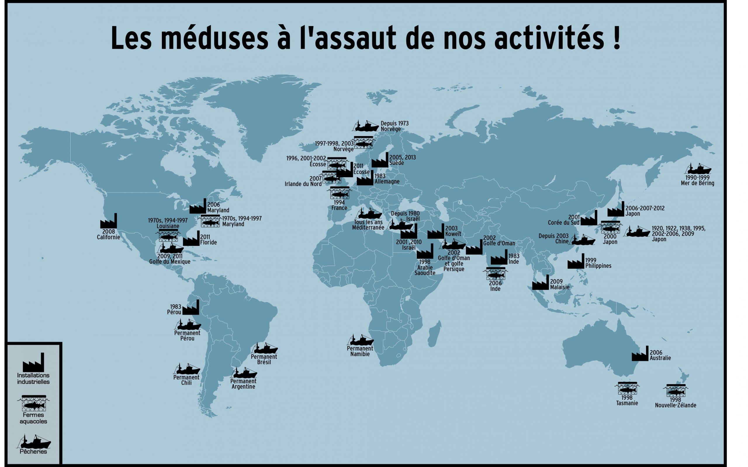 Carte du monde Méduses