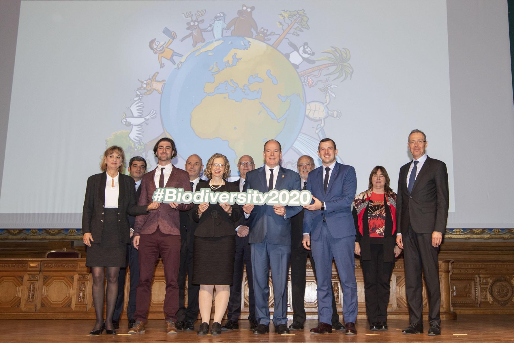 Photo de groupe - Lancement coalition mondiale pour la biodiversité - 3 mars 2020 © M. Dagnino - Institut océanographique de Monaco.